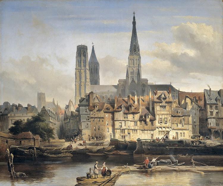 Johannes Bosboom - De Parijse kade in Rouen