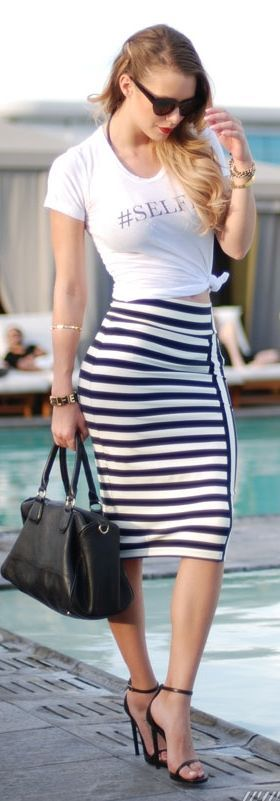 Bebe Black & White Stripe Pencil Skirt by Fashion Addict