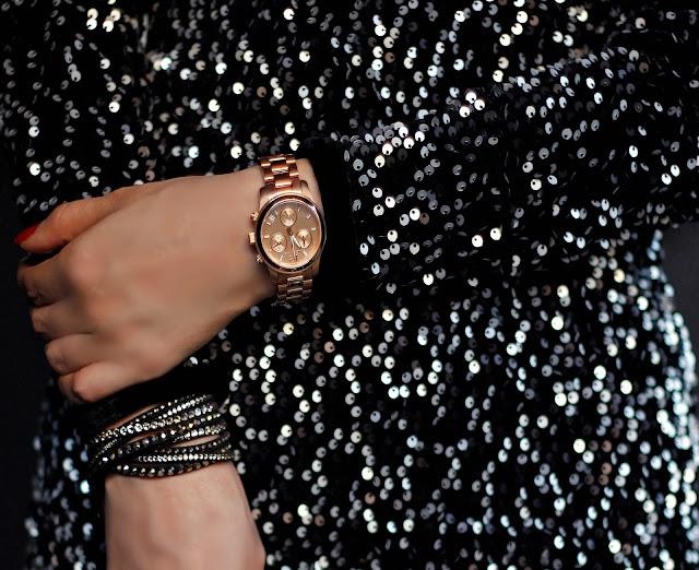 Rose Gold Michael Kors watch , Black & Silver Slake Bracelet