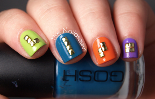 Studded Tetris Nail Art by The Nailasaurus