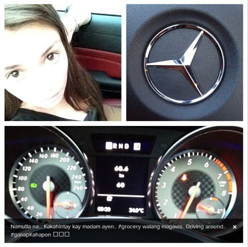 Angelica Panganiban posed with her new Mercedes Benz reportedly given by rumored bf John Lloyd cruz