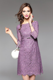 2017 Three Quarter Sleeve Purple Rose Lace Flare Dress
