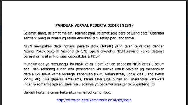 Download Panduan Mendapatkan NISN di Verval Peserta Didik