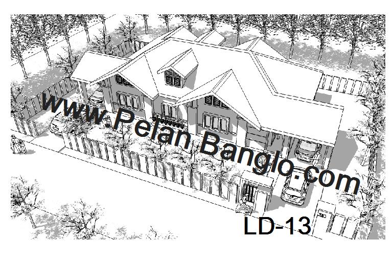 pelan banglo ld 13 saiz lot rumah minima 96 lebar x 62 panjang rumah