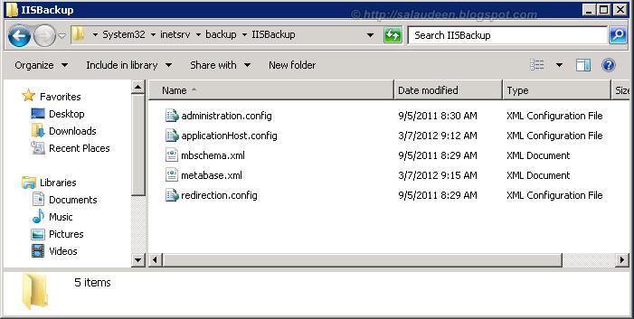 iis backup restore configuration