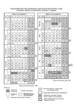 Календар рада за школску 2016/2017. годину