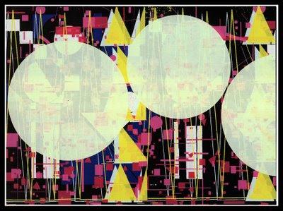 Abstract Geometric silk-screen print