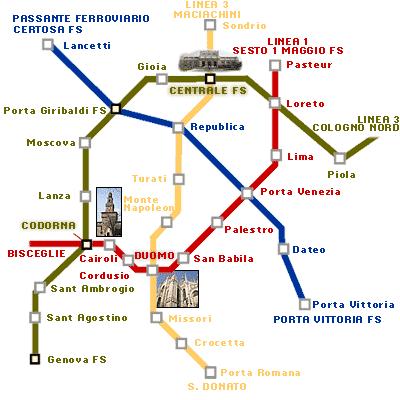 Mappa Milano Italia Road Map