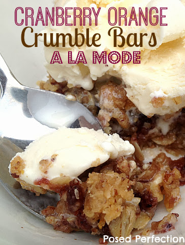 Cranberry Orange Oatmeal Crumble Bars a la Mode