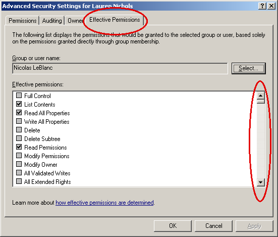 Active Directory Effective Permissions