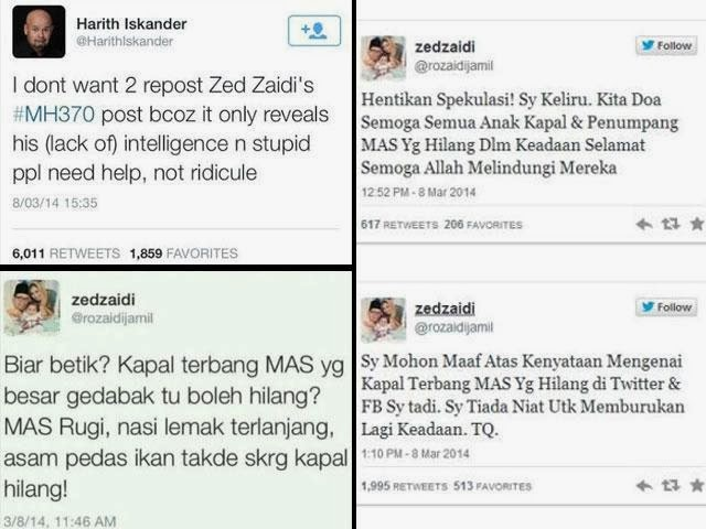 Harith Iskandar Perli Status Lawak Twitter Zed Zaidi Tentang Mh370