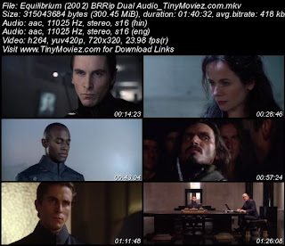 Equilibrium 2002 BRRip Dual Audio 300MB