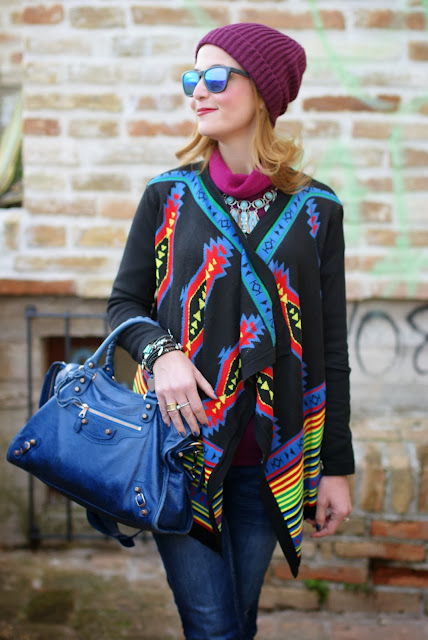 aztec print colorful cardigan, Oakley mirror sunglasses, Balenciaga City, Fashion and Cookies, fashion blogger