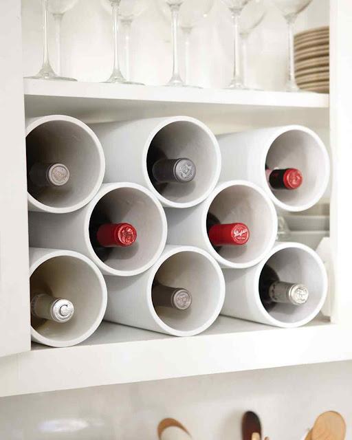 Make a wine rack from PVC :: OrganizignMadeFun.com