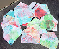 bubble tie-dye envelopes