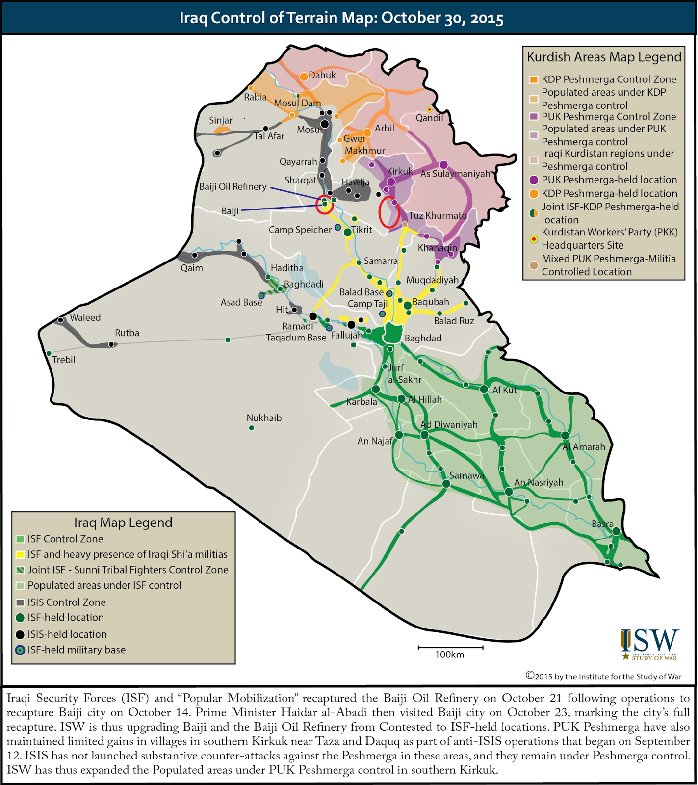 ISW Blog Iraq Control of Terrain Map October 30 2015