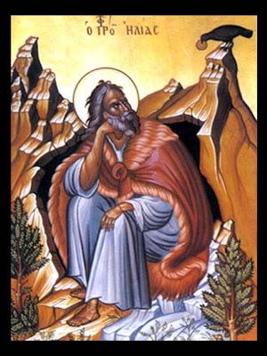 Dibujo de San Elias en el Monte Carmelo.