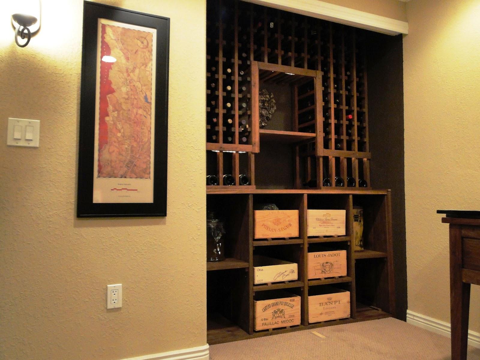 Small Basement Wine Cellar in Closet