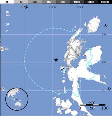 Terremoto alcanzó la intensidad de 5,8 grados y sacudió la regíón de Halmahera, Indonesia, 27 de Junio 2013