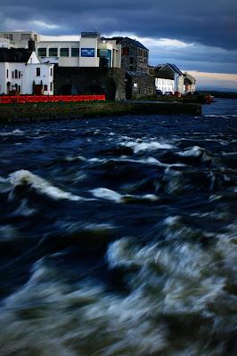 River Corrib going wild under Wolfe Tone Bridge, Galway