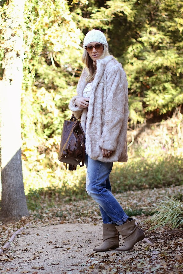 faux fur with boyfriend jeans