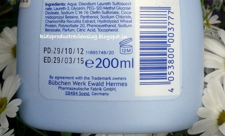 Bubchen Baby Shampoo Ingredients Review