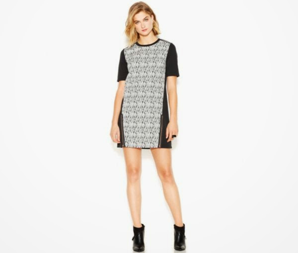 Fall Fashion at Macys- Bar III Short-Sleeve Mixed-Media Paneled Dress Fashion Rocks