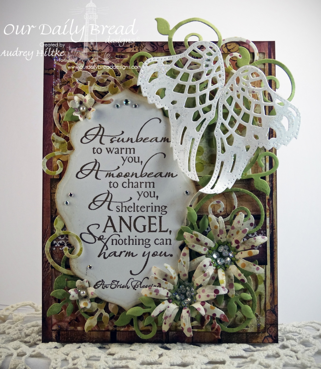 Stamps - Our Daily Bread Designs Sheltering Angel, ODBD Rustic Beauty Paper Collection, ODBD Custom Angel Wings Die, ODBD Custom Ornamental Crosses Die, ODBD Custom Antique Labels and Border Dies, ODBD Custom Fancy Foliage Die