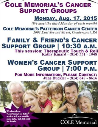 8-17 Cole Memorial's Cancer Support Groups