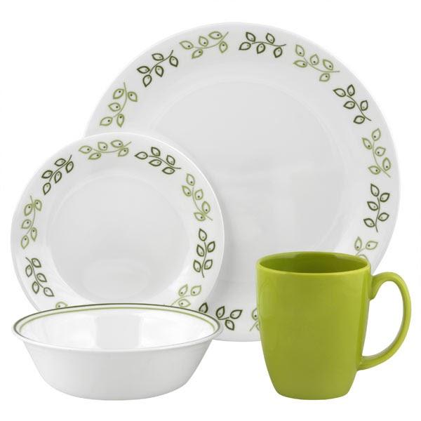 Corelle Neo Leaf 16-Pc Dinnerware Set | Adorable Muslimah's Kitchen