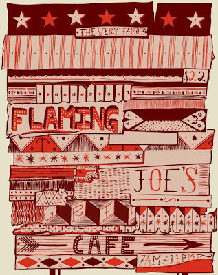 Benjamin Carr illustration of the flaming joe's cafe