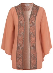 peach lace back jacket