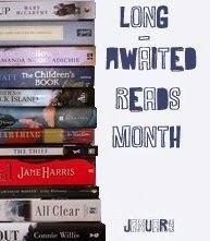 Long-awaited Reads Month button showing a pile of books