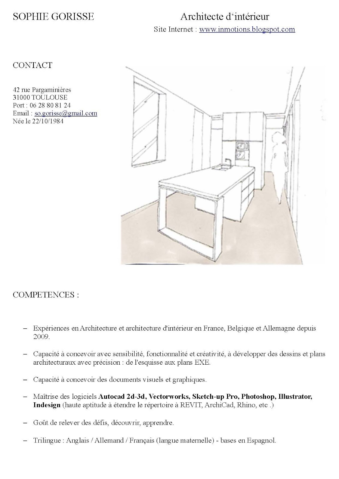 L 39 architecture d 39 int rieur curriculum vitae for L architecture d interieur