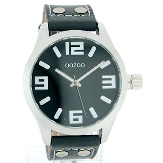 OOZOO watch in black leather bracelet