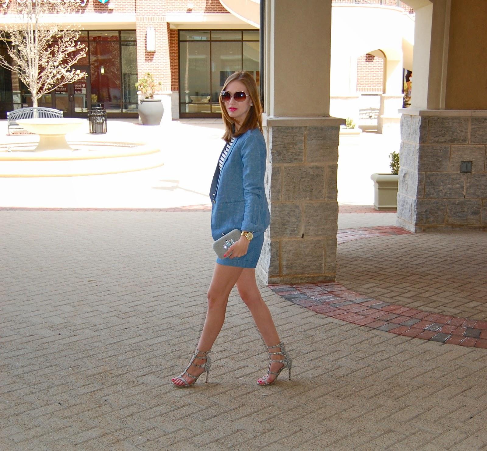 Chambray suit, chambray shorts, chambray blazer, bcbgeneration manci heels, gladiator heels