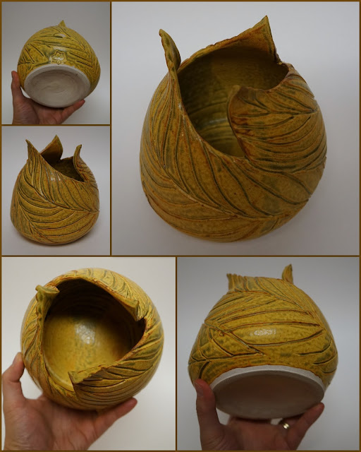 Trio of leaves carved pottery vase in Ash Yellow by Lily L.