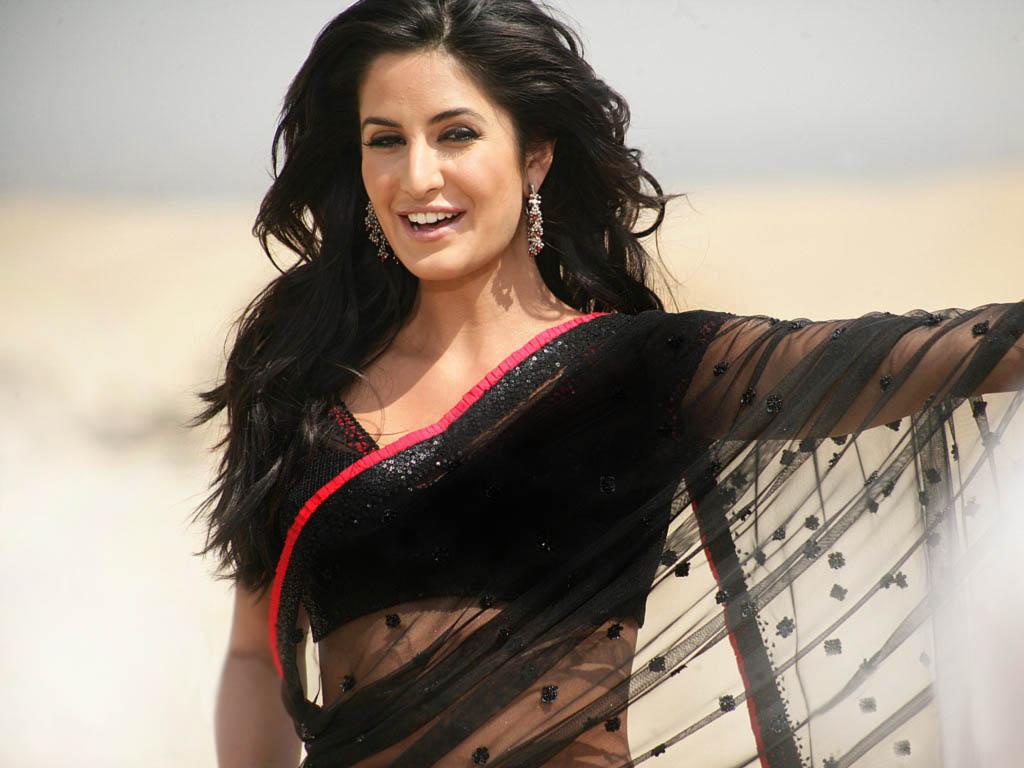 Katrina Kaif Black Saree Wallpaper
