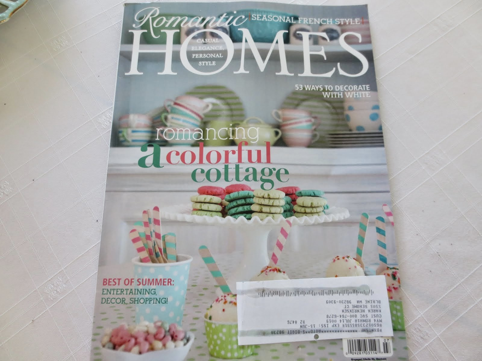 I was so very honoured to be featured in the July 2014 Issue of  Romantic Homes Magazine