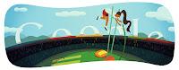 Google 4 Ağustos Londra 2012 Sırıkla Atlama doodle ( Logo )
