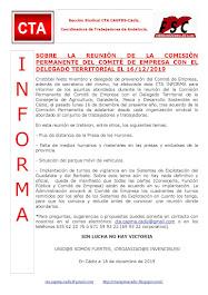 SOBRE LA REUNIÓN DE LA COMISIÓN PERMANENTE DEL COMITÉ DE EMPRESA CON EL DELEGADO TERRITORIAL EL 16/