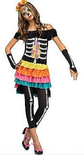 Girl's Teen Dia De Los Muertos Costume