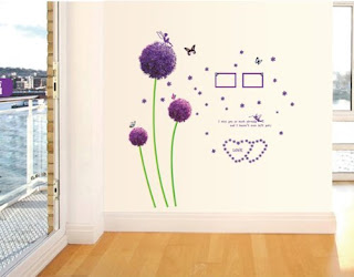 Purple bedroom ideas: Purple dandelion wall sticker