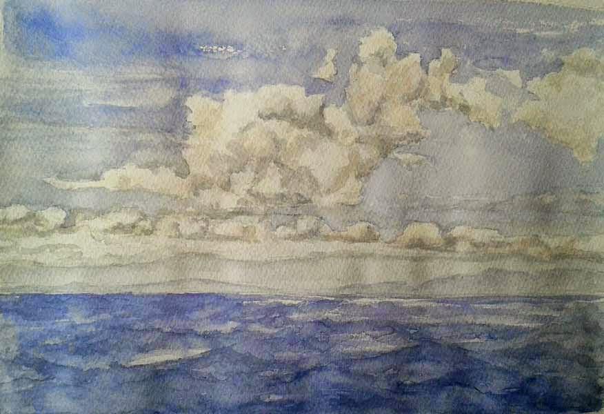 marina nubes y olas