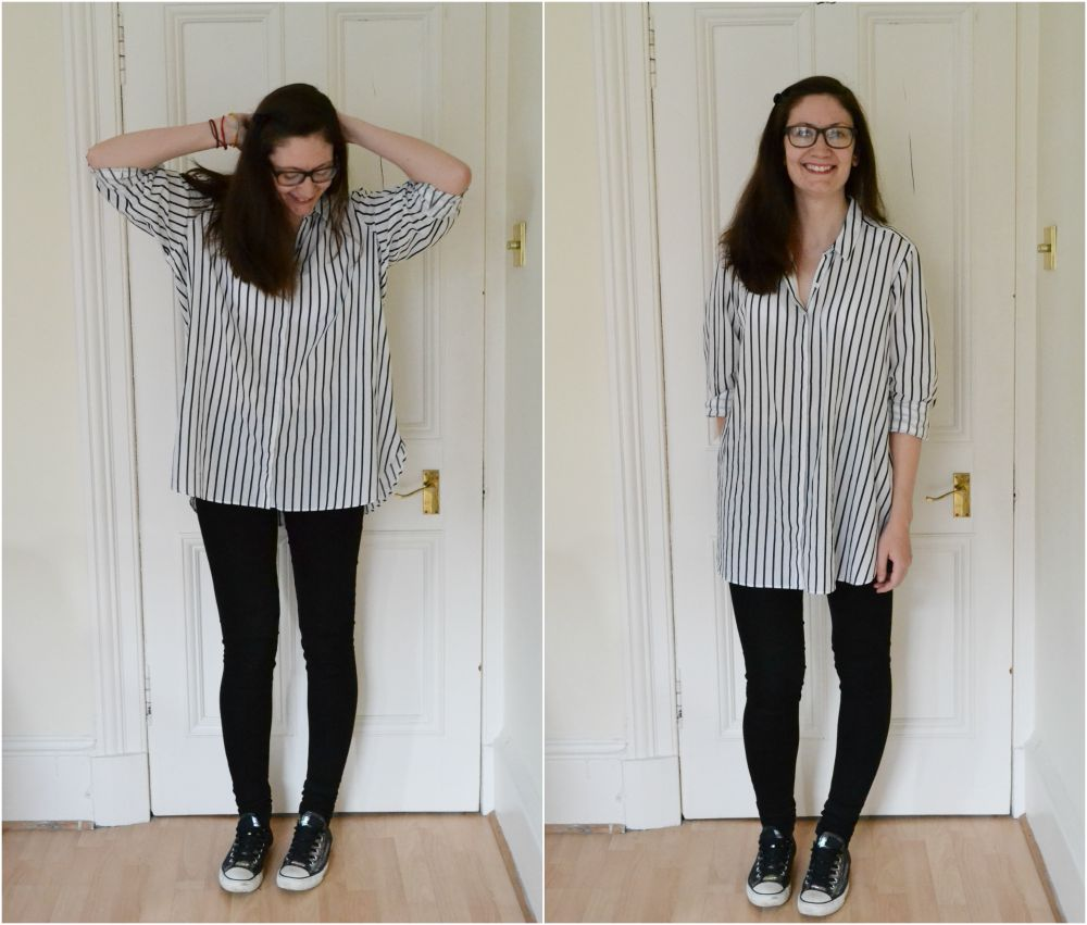 oversize stripe shirt M&S tall skinny jeans converse