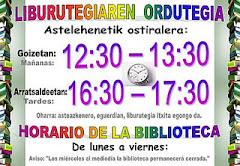Horario extraescolar de la bibioteca  (curso 2011-2012)