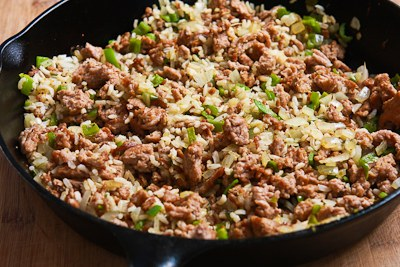 Easy Brown Rice Casserole with Turkey Italian Sausage and Green Bell Pepper found on KalynsKitchen.com