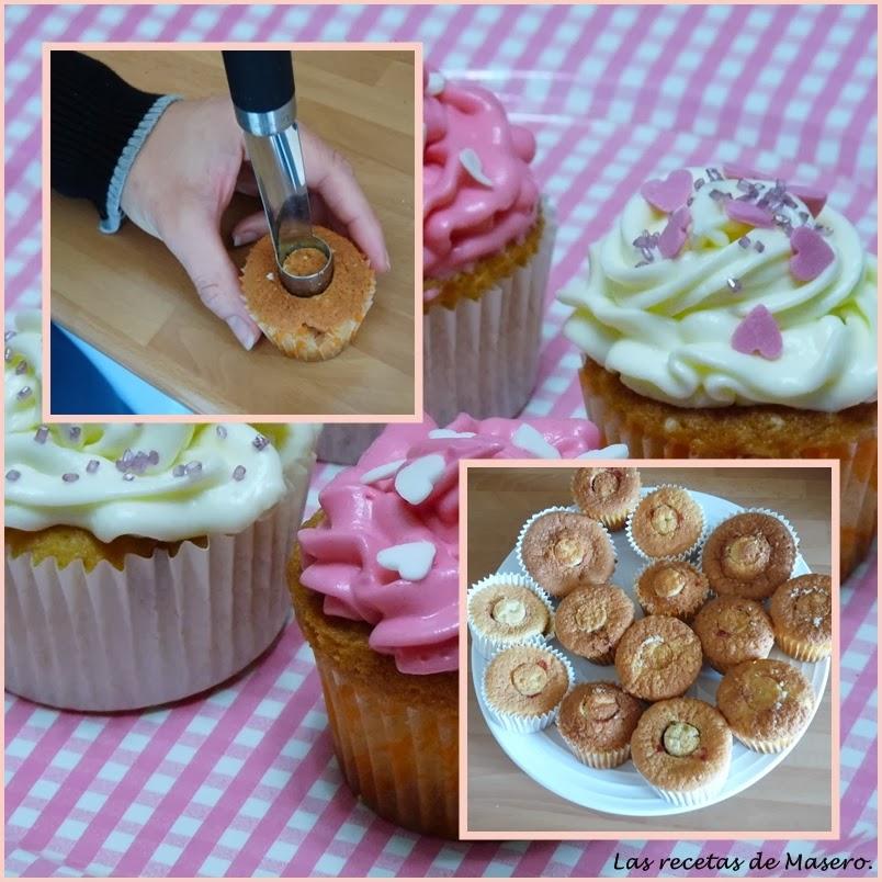Cupcakes de vainilla con buttercream de queso.