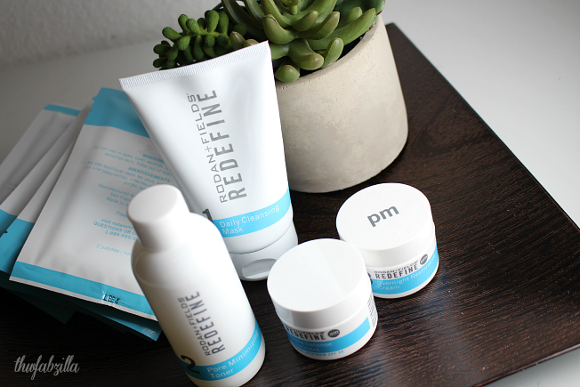 Rodan + Fields Redefine Skincare Regimen, Redefine Acute Care Skincare for Expression Lines, Redefine Overnight Restorative Cream, Redefine Triple Defense Treatment, Redefine Pore Minimizing Toner, Redefine Daily Cleansing Mask, Review, Photos