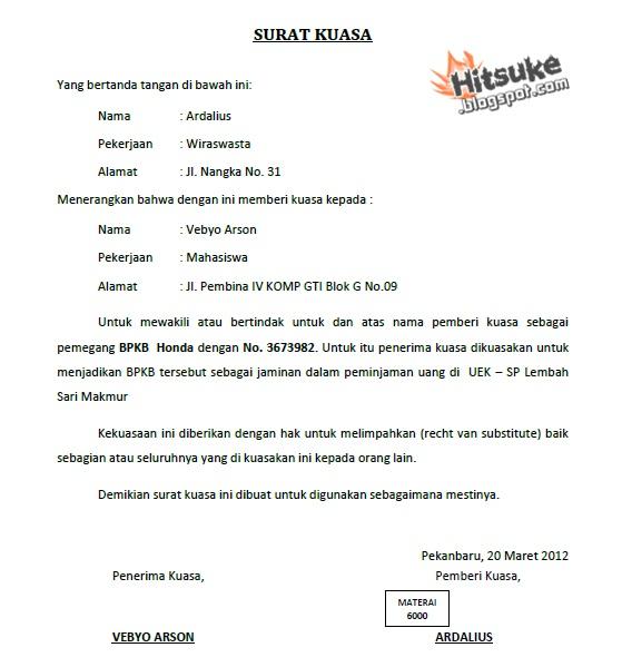 Contoh Surat Kuasa | Kumpulan Contoh Format Proposal « Hitsuke